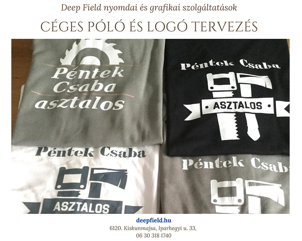 Péntek Csaba asztalos részére logó és póló tervezés